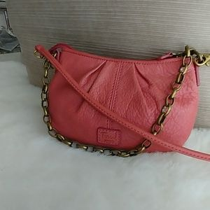 Fossil small Chain salmon leather clutch crossbody